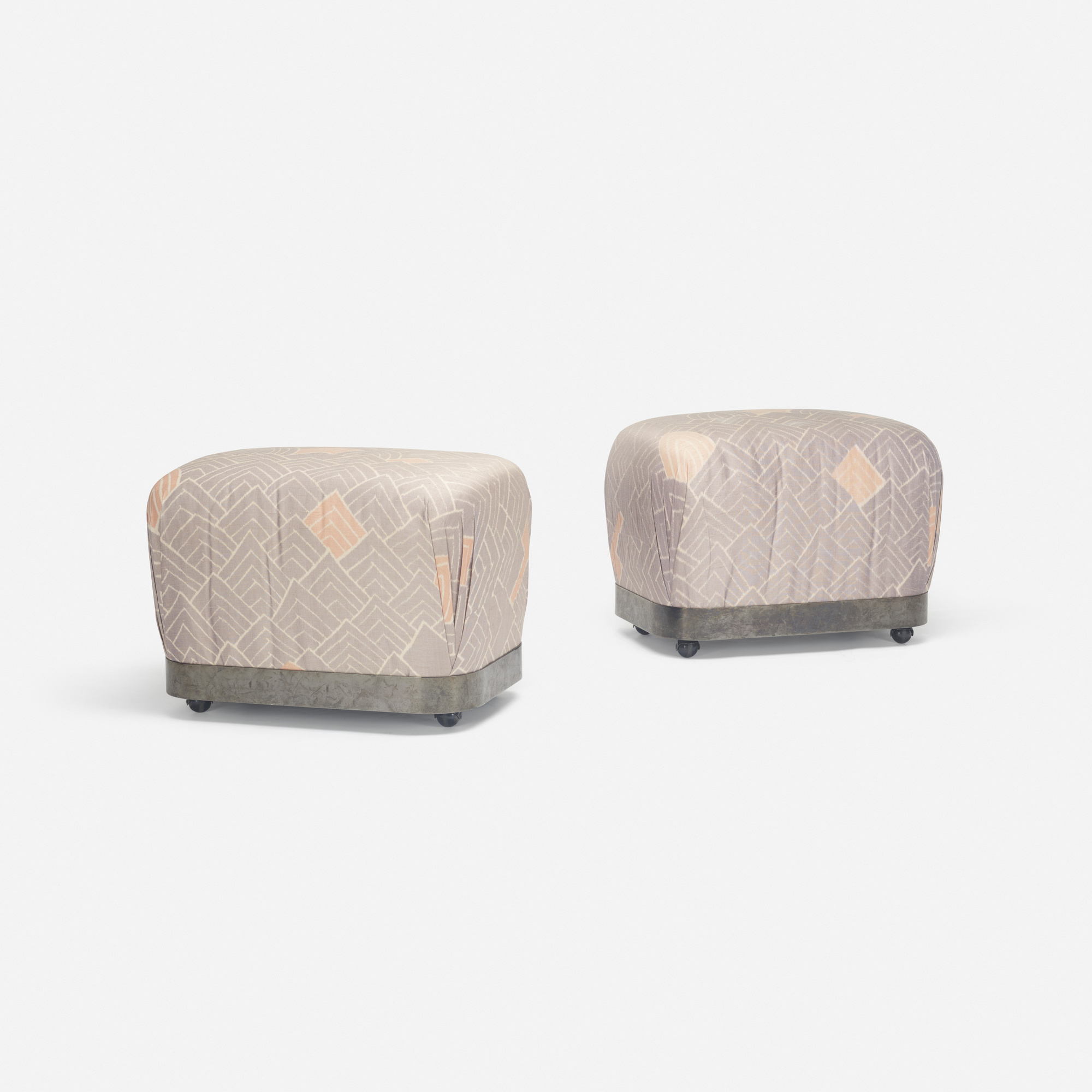 340: Karl Springer / Souffle ottomans, pair (1 of 1)