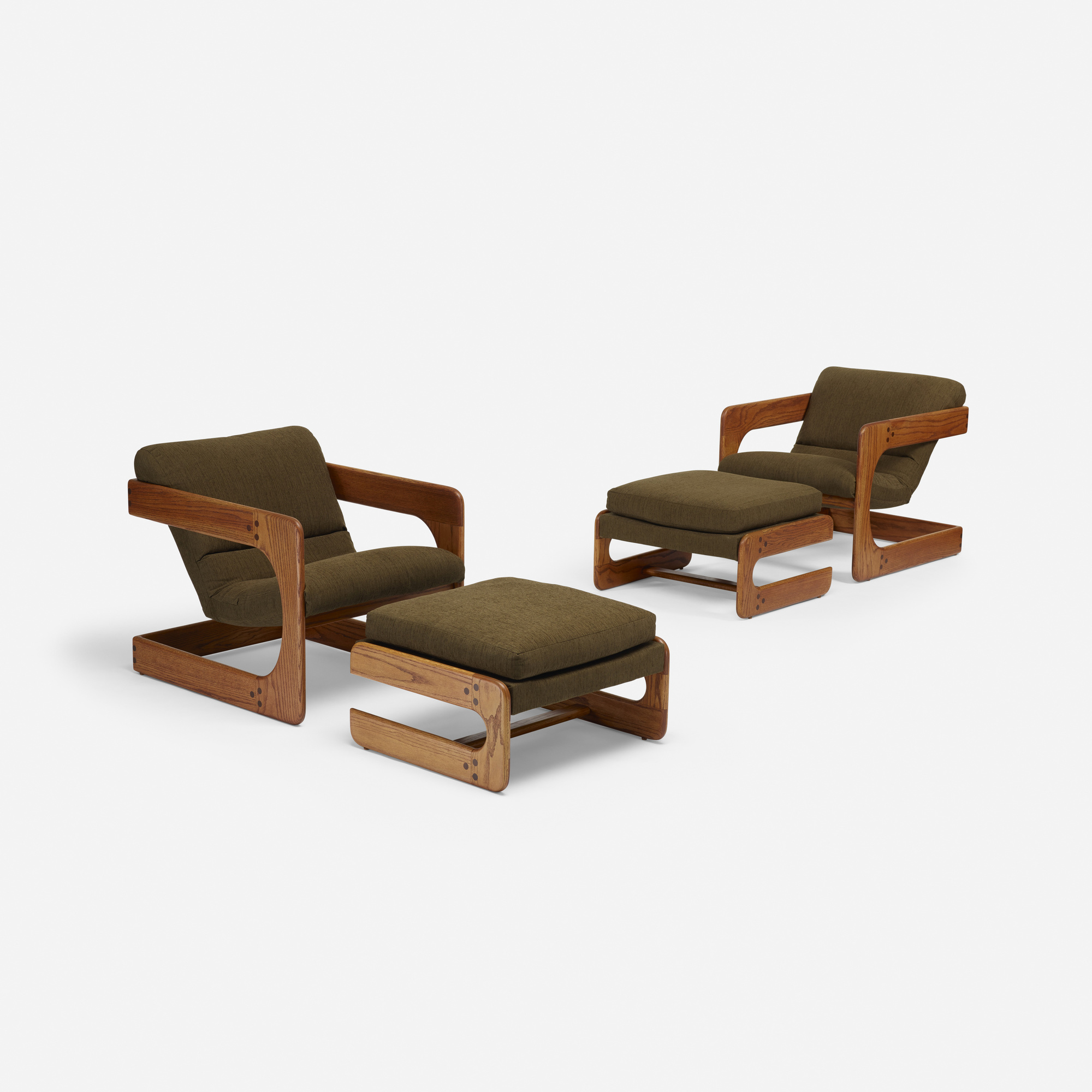 342: Lou Hodges / lounge chairs with ottomans, pair (1 of 1)
