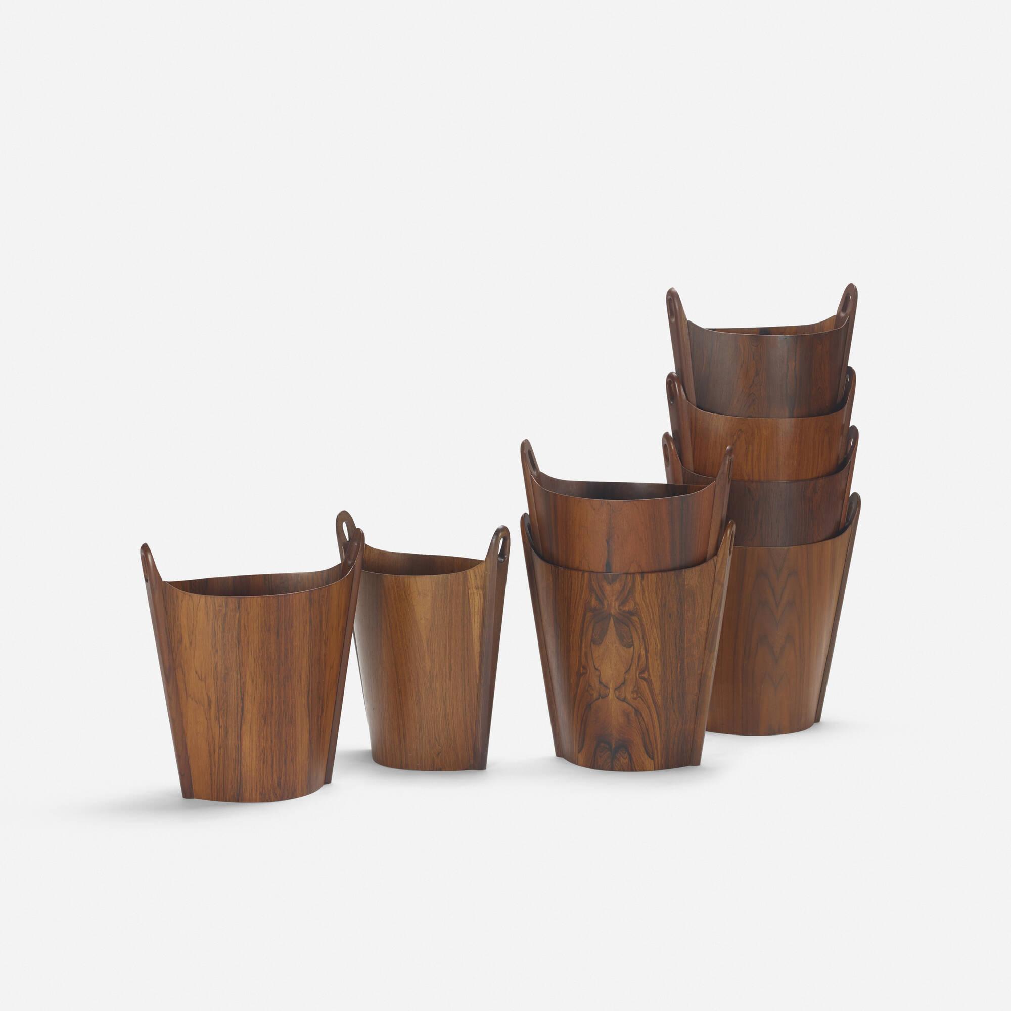 345: P.S. Heggen / wastepaper baskets, set of eight (1 of 2)