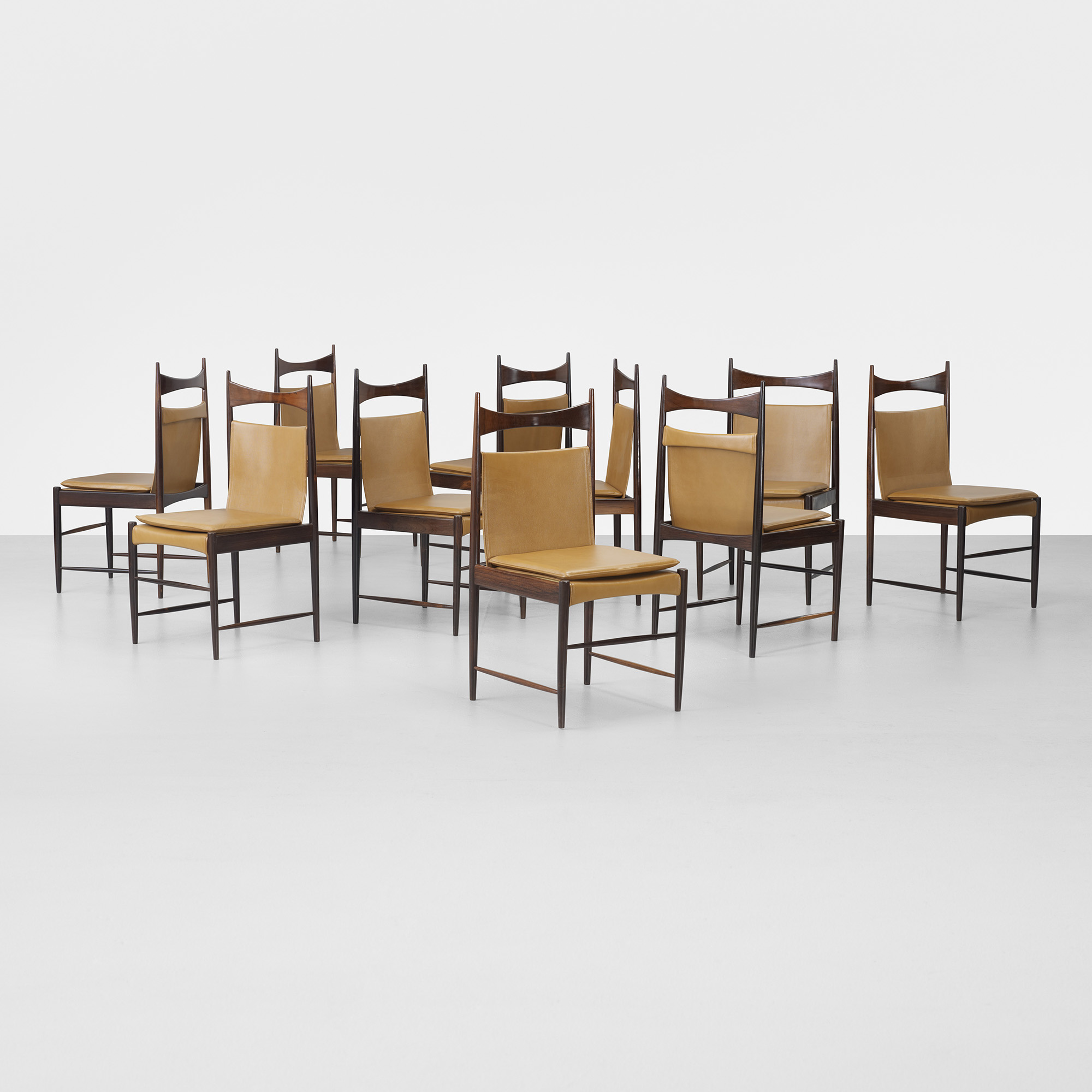 350: Sergio Rodrigues / High Backed Cantu Dining Chairs, Set Of Ten (