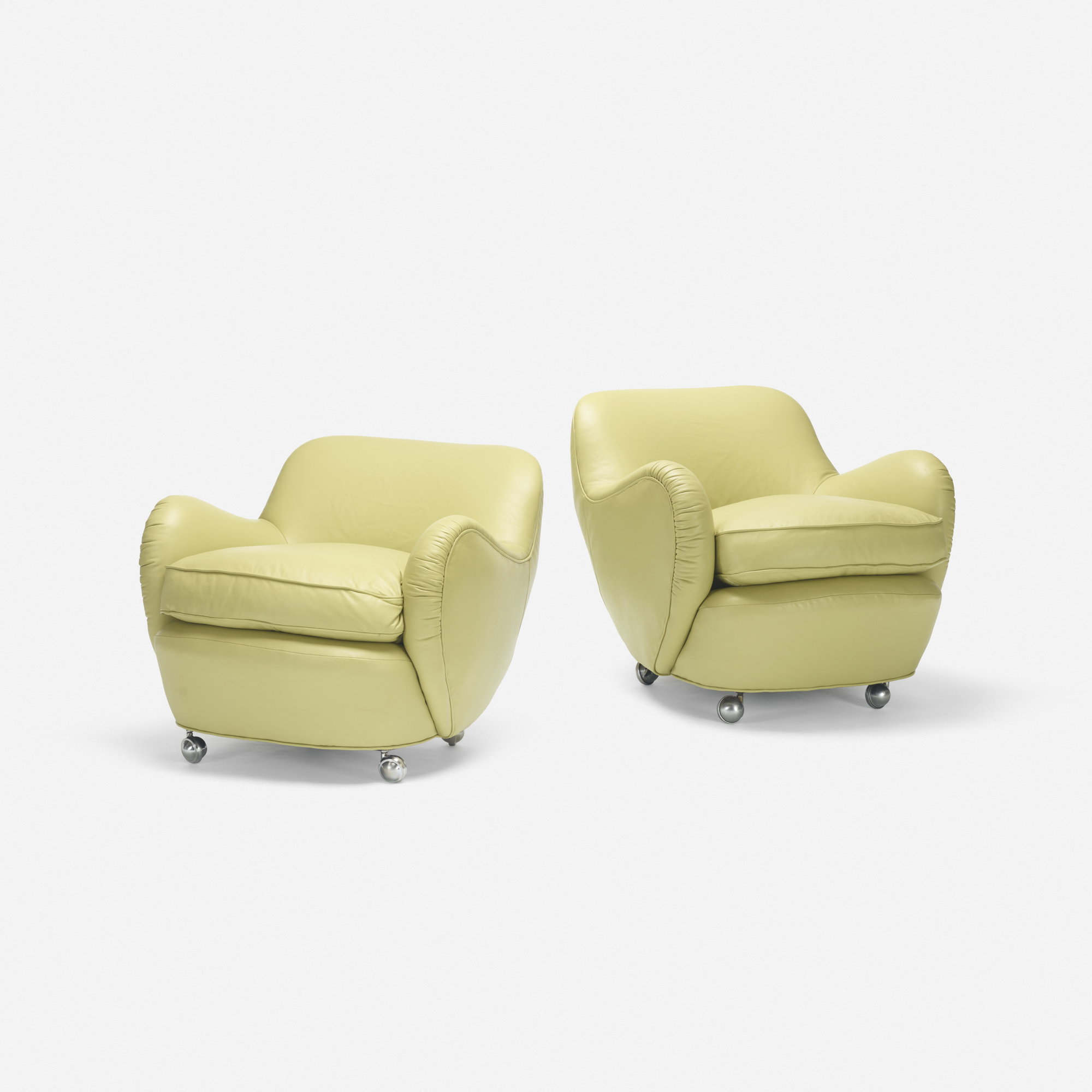361: Vladimir Kagan / Barrel lounge chairs model 100A, pair (1 of 2)