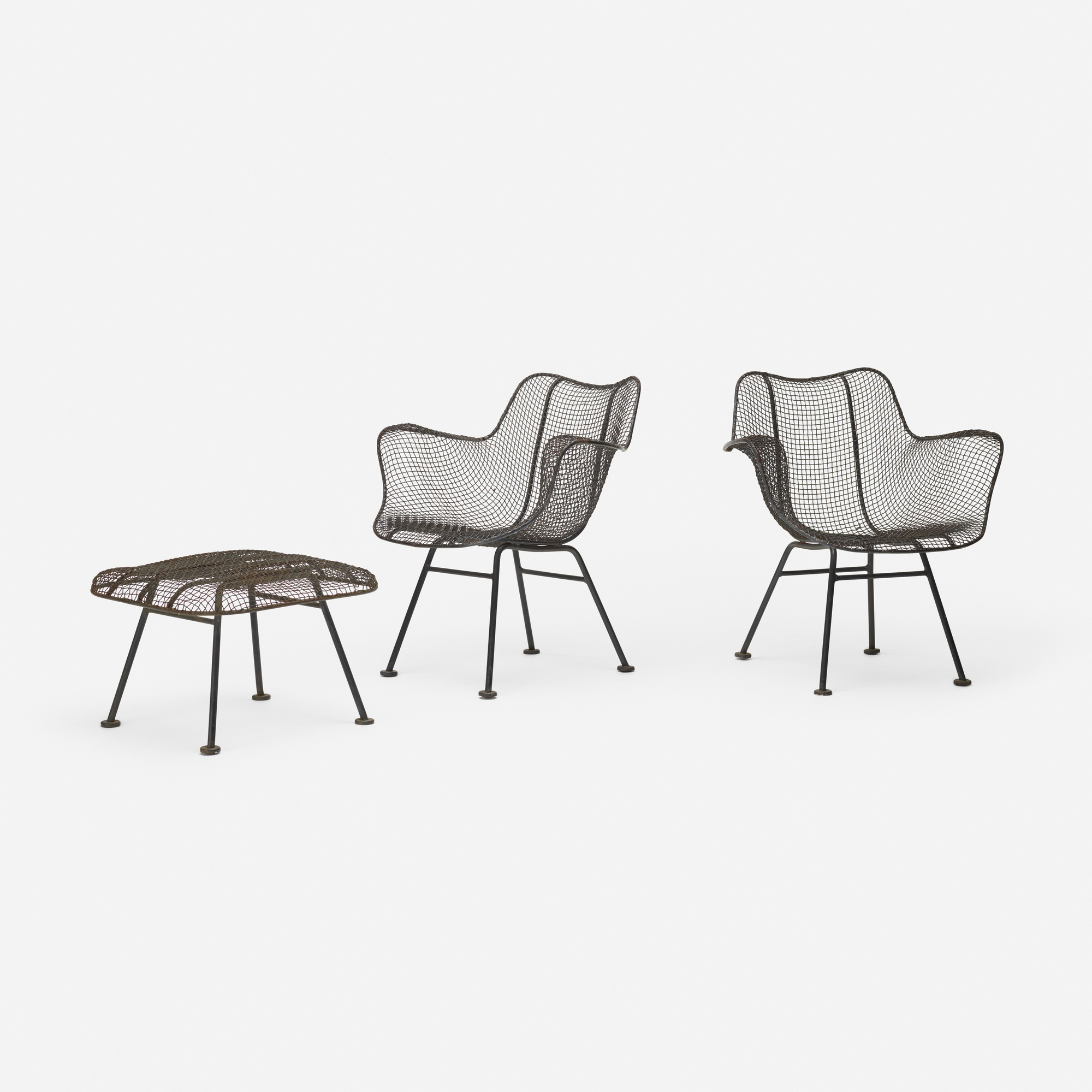 362: Russell Woodard / Sculptura lounge chairs, pair with ottoman (1 of 3)