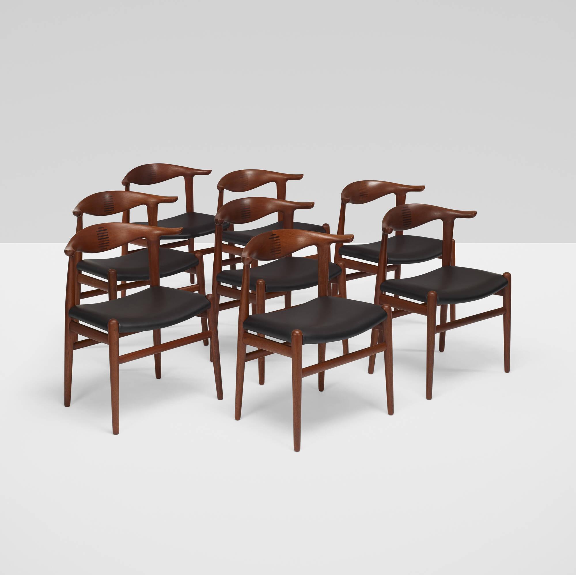 367: Hans J. Wegner / Cow Horn Chairs, Set Of Eight (1