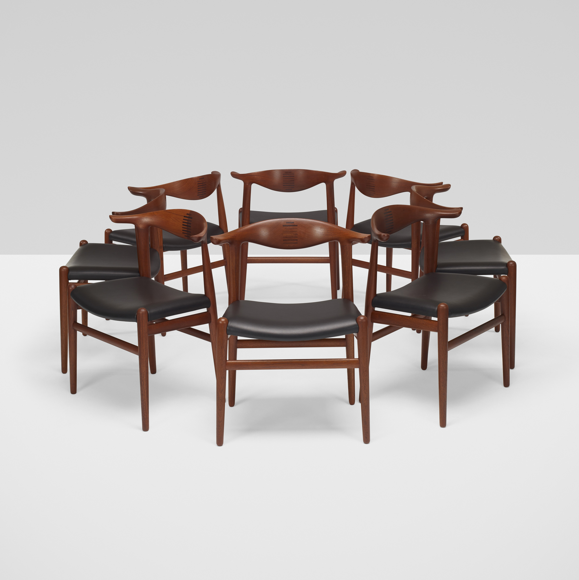 367: Hans J. Wegner / Cow Horn chairs, set of eight (4 of 7)
