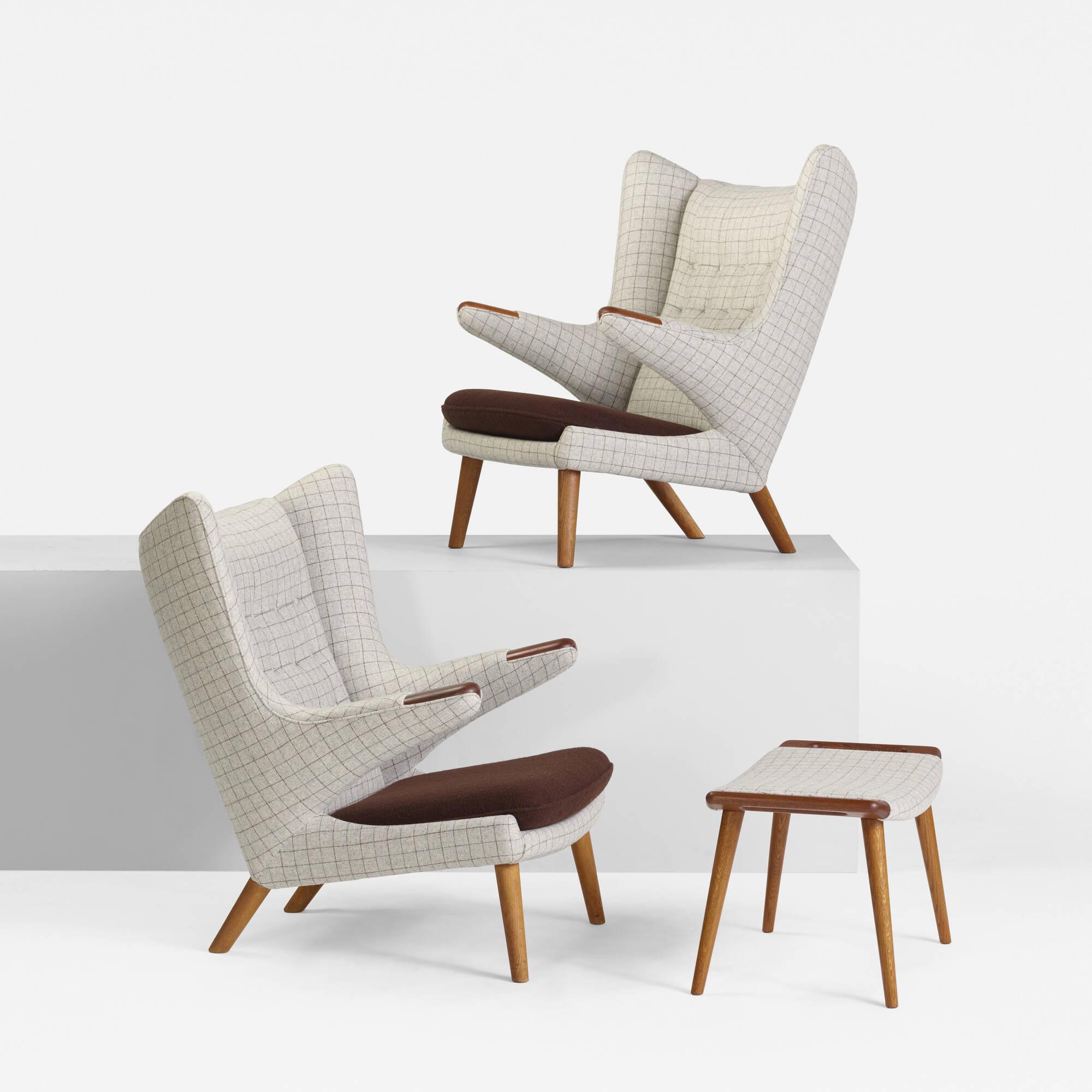372 Hans J Wegner pair of Papa Bear chairs and ottoman