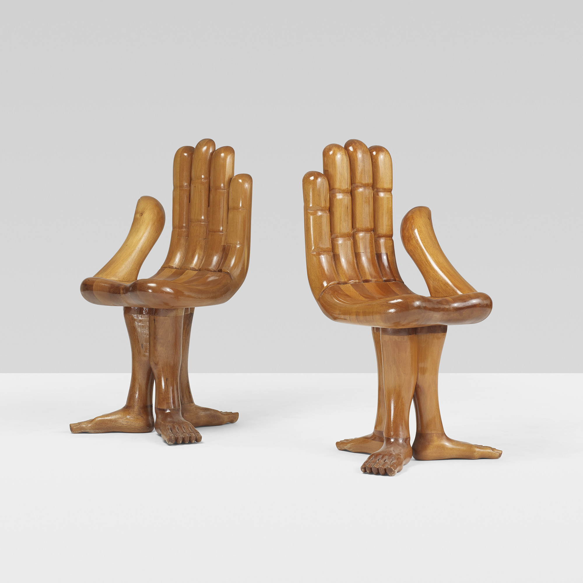 382 Pedro Friedeberg Hand Foot chairs pair Design 12 June