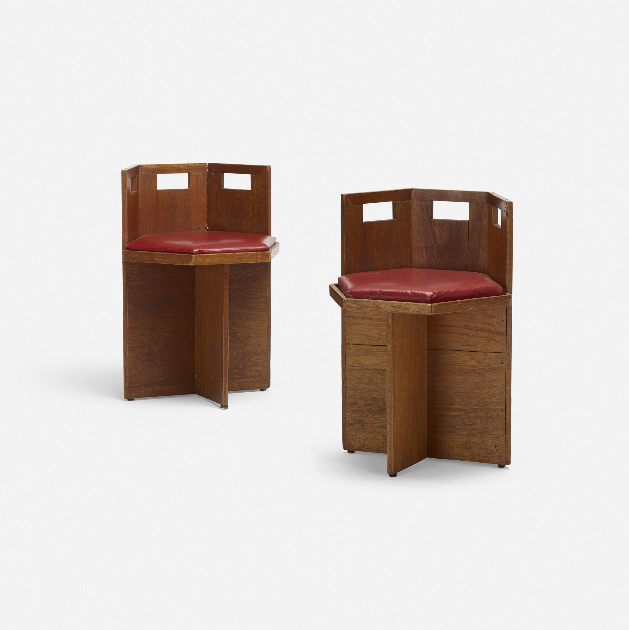 384 In The Manner Of Frank Lloyd Wright Chairs Pair 1