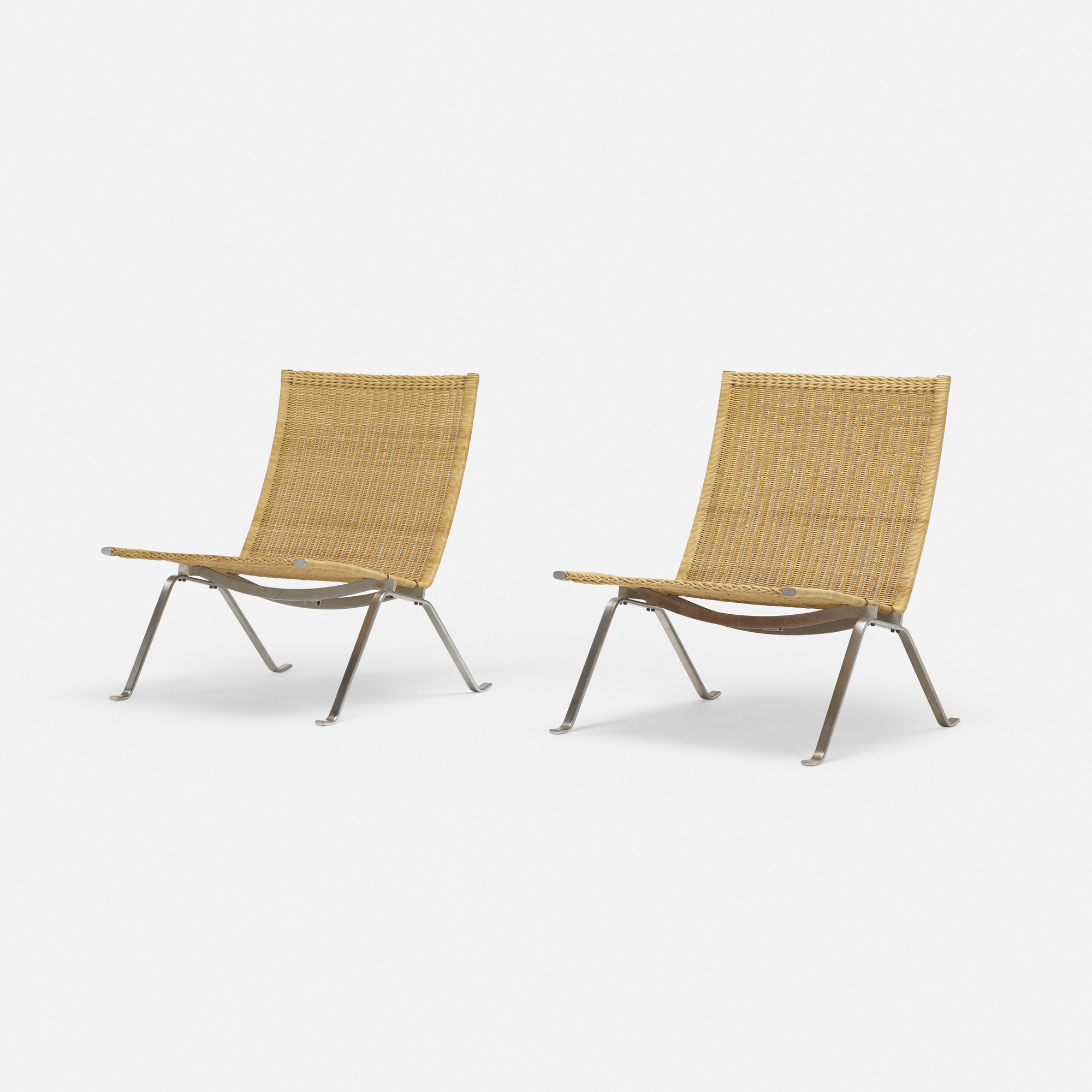 387: Poul Kjaerholm / PK 22 lounge chairs, pair (1 of 3)