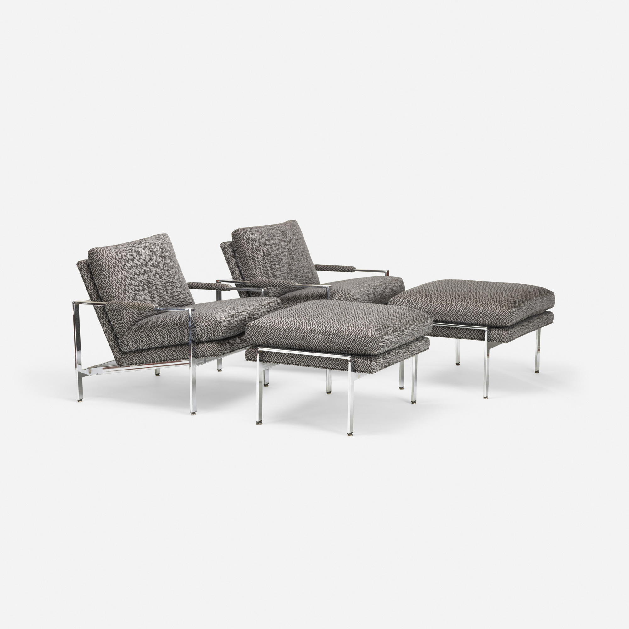 401: Milo Baughman / chairs with ottomans, pair (1 of 4)
