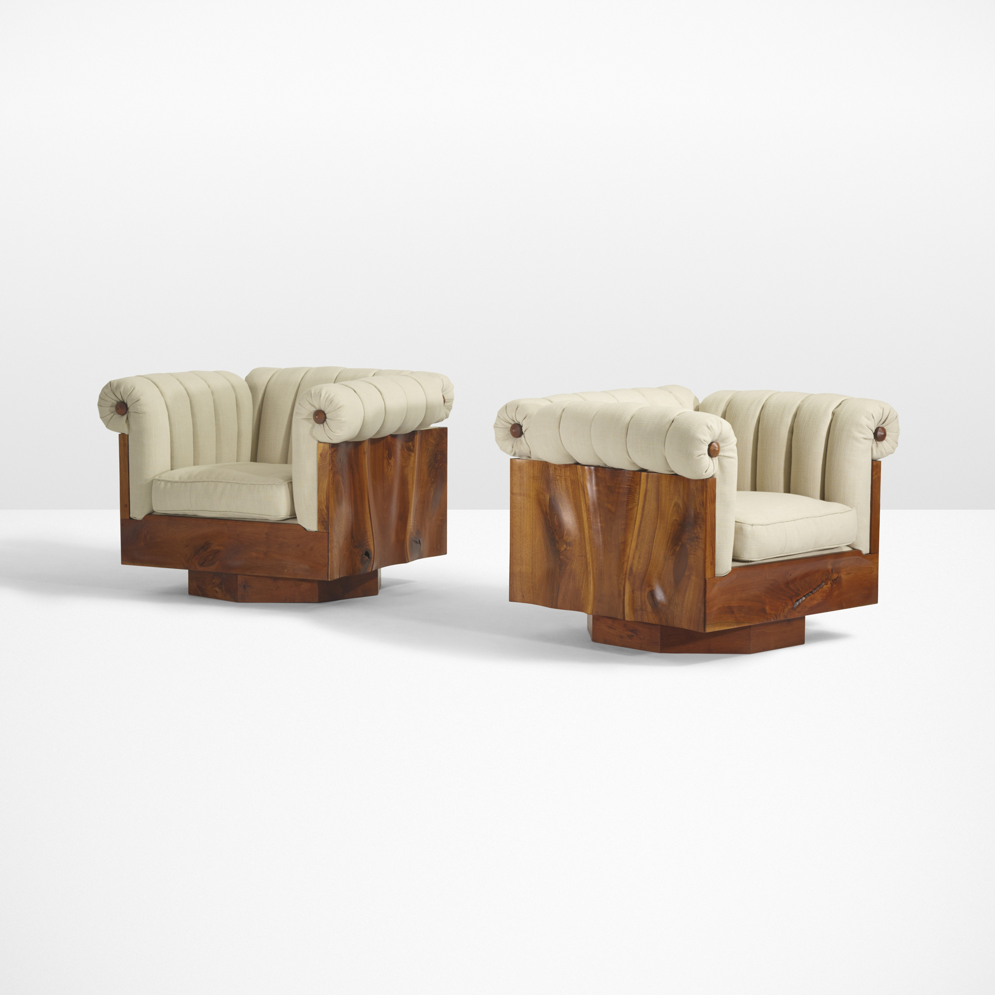 40: Phillip Lloyd Powell / Rare carved panel lounge chairs, pair (1 of 5)