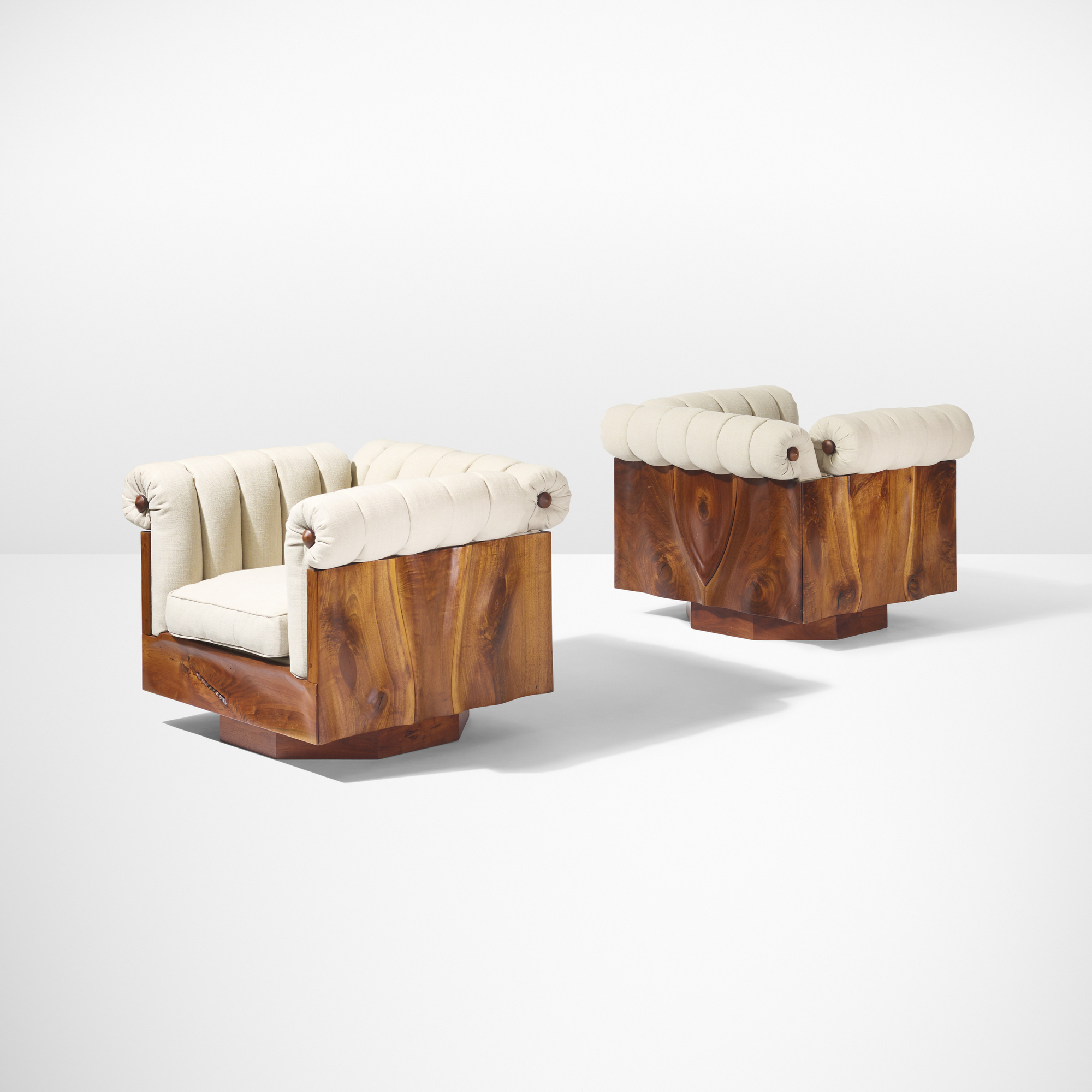 40: Phillip Lloyd Powell / Rare carved panel lounge chairs, pair (2 of 5)