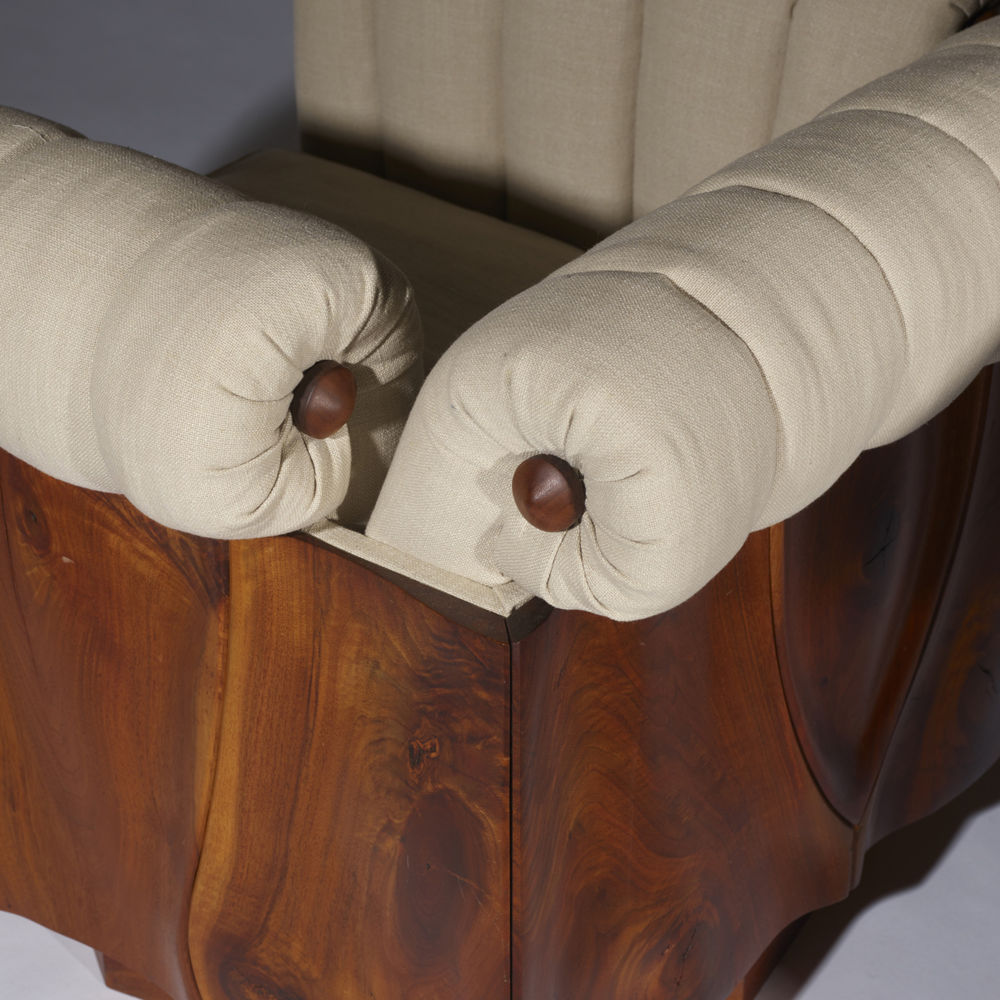 40: Phillip Lloyd Powell / Rare carved panel lounge chairs, pair (4 of 5)