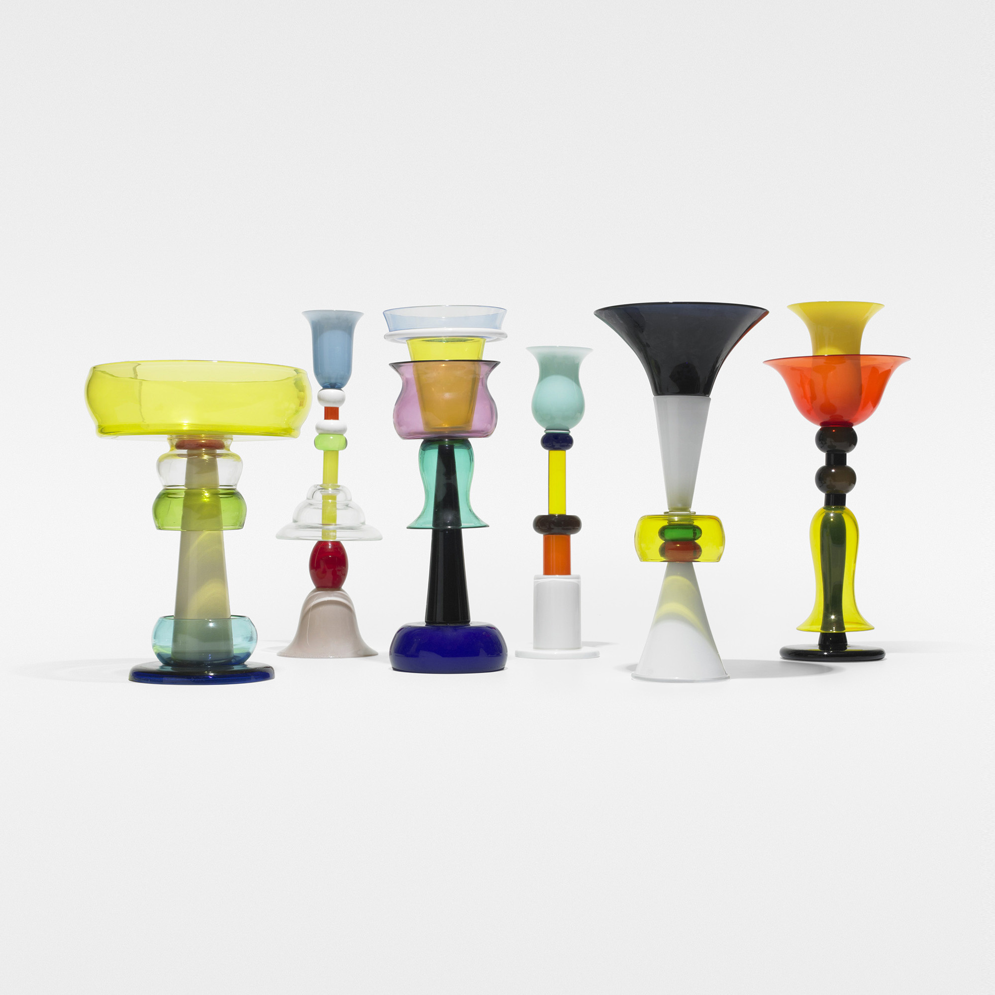 437 ettore sottsass collection of six vessels for Memphis sottsass