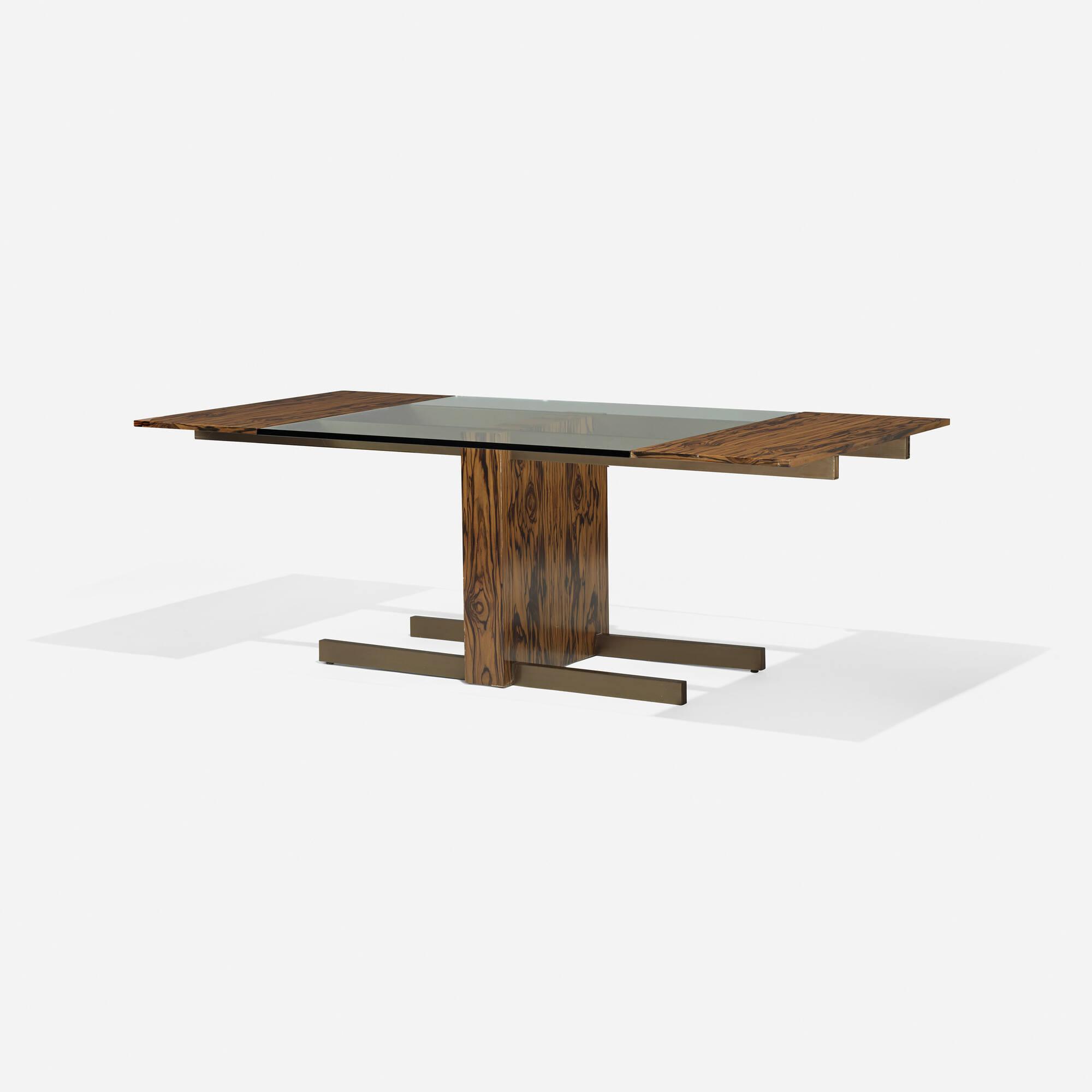 496 Vladimir Kagan Glass Top Extension Dining Table Model 6705 1 Of