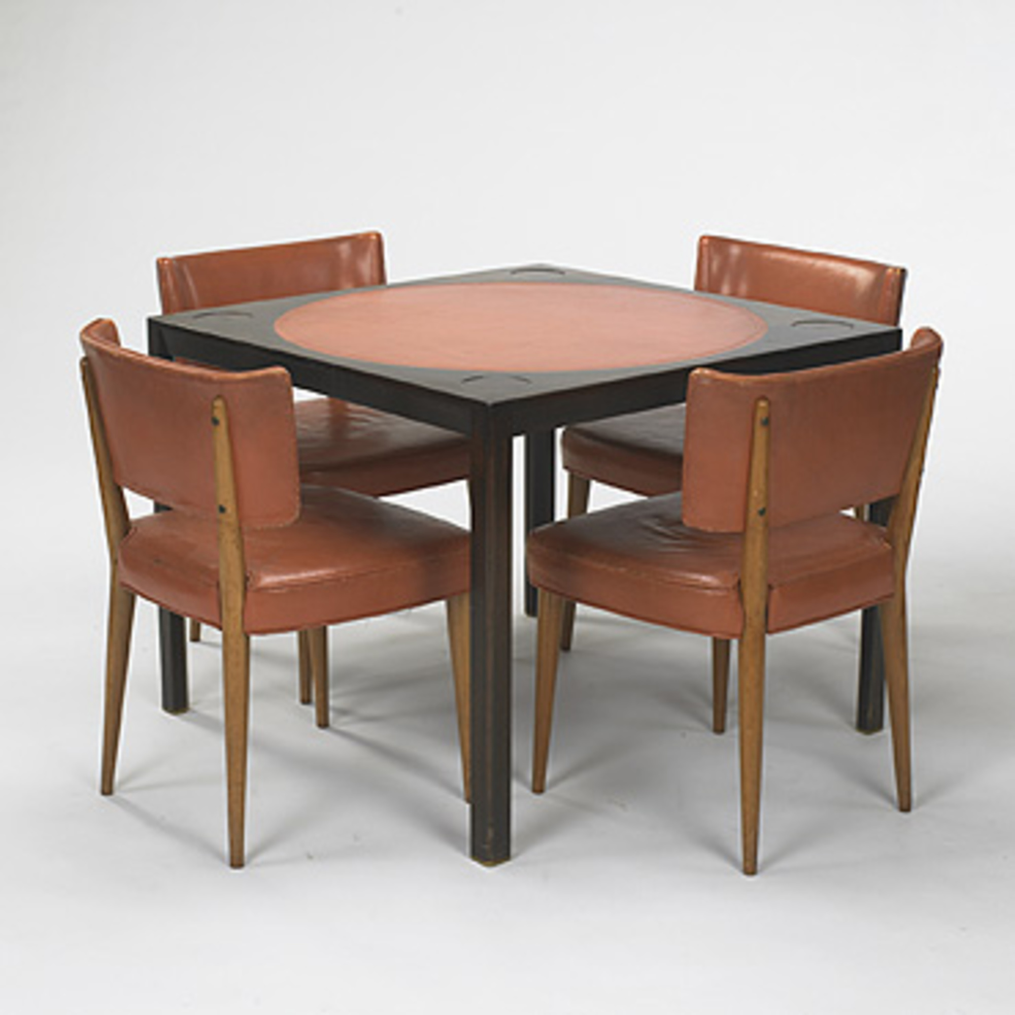 5: EDWARD WORMLEY, card table and set of four chairs < Mass