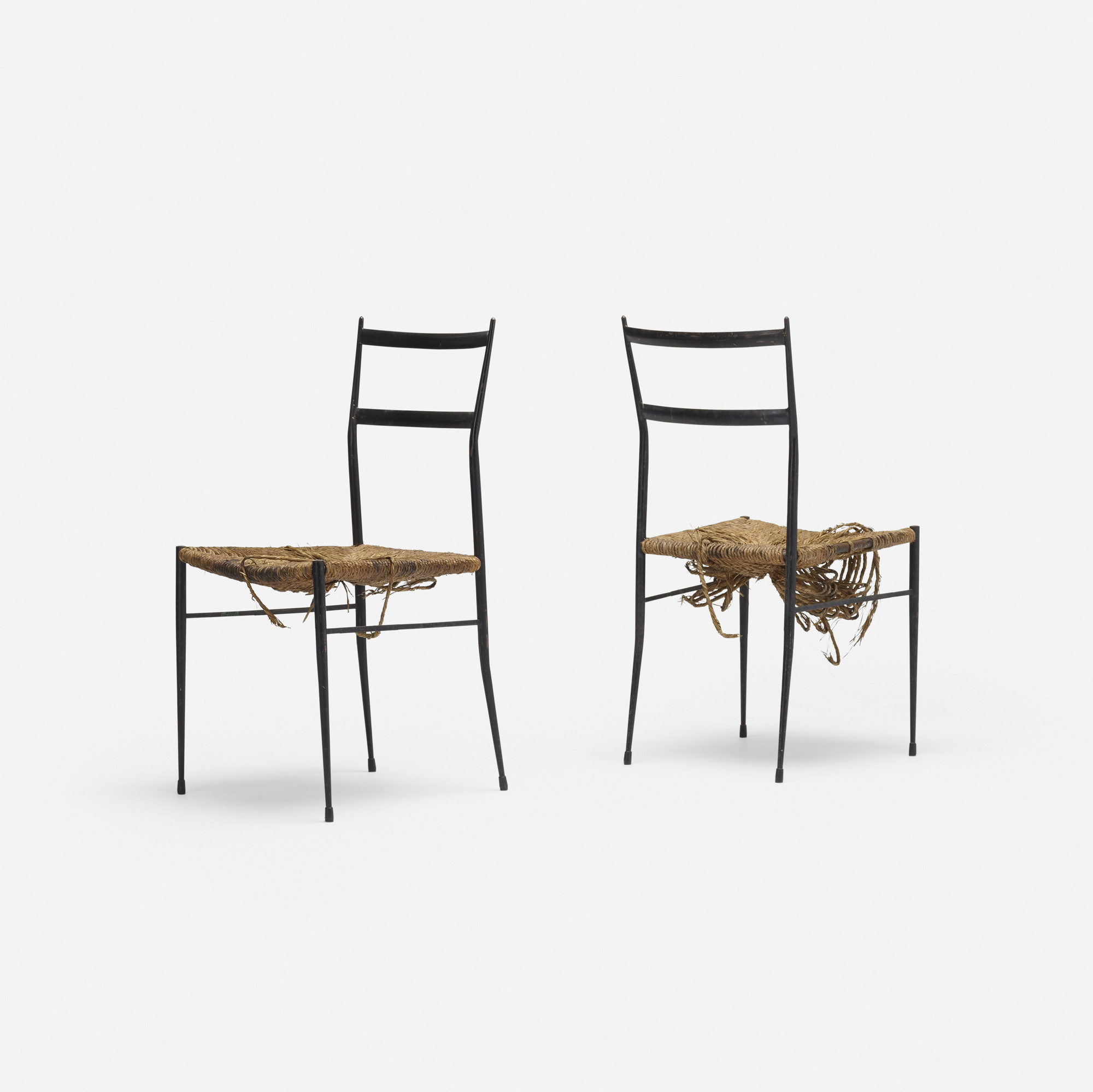 666: In the manner of Gio Ponti / dining chairs, pair (1 of 2)