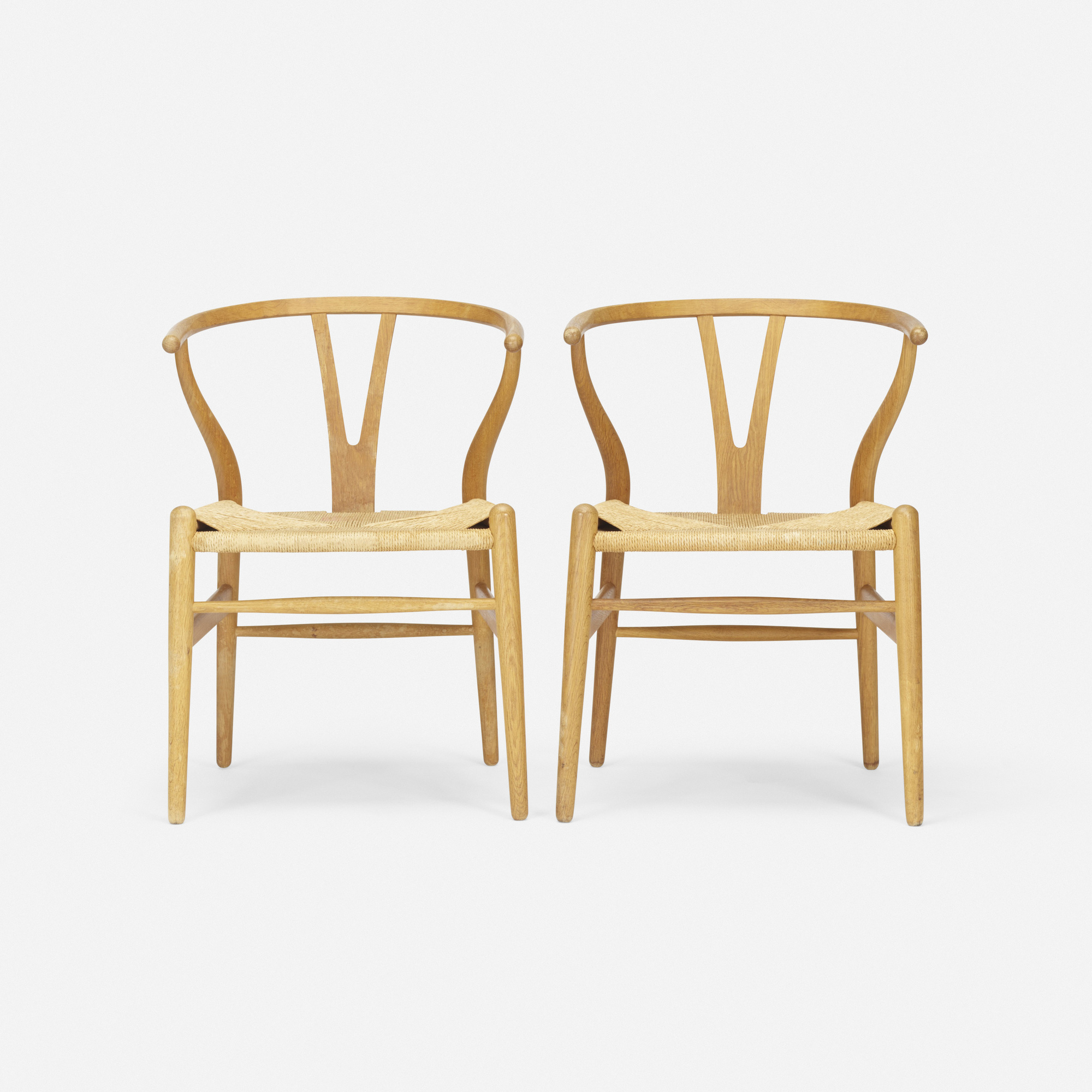 688 Hans J Wegner Wishbone chairs model CN24 pair Mass