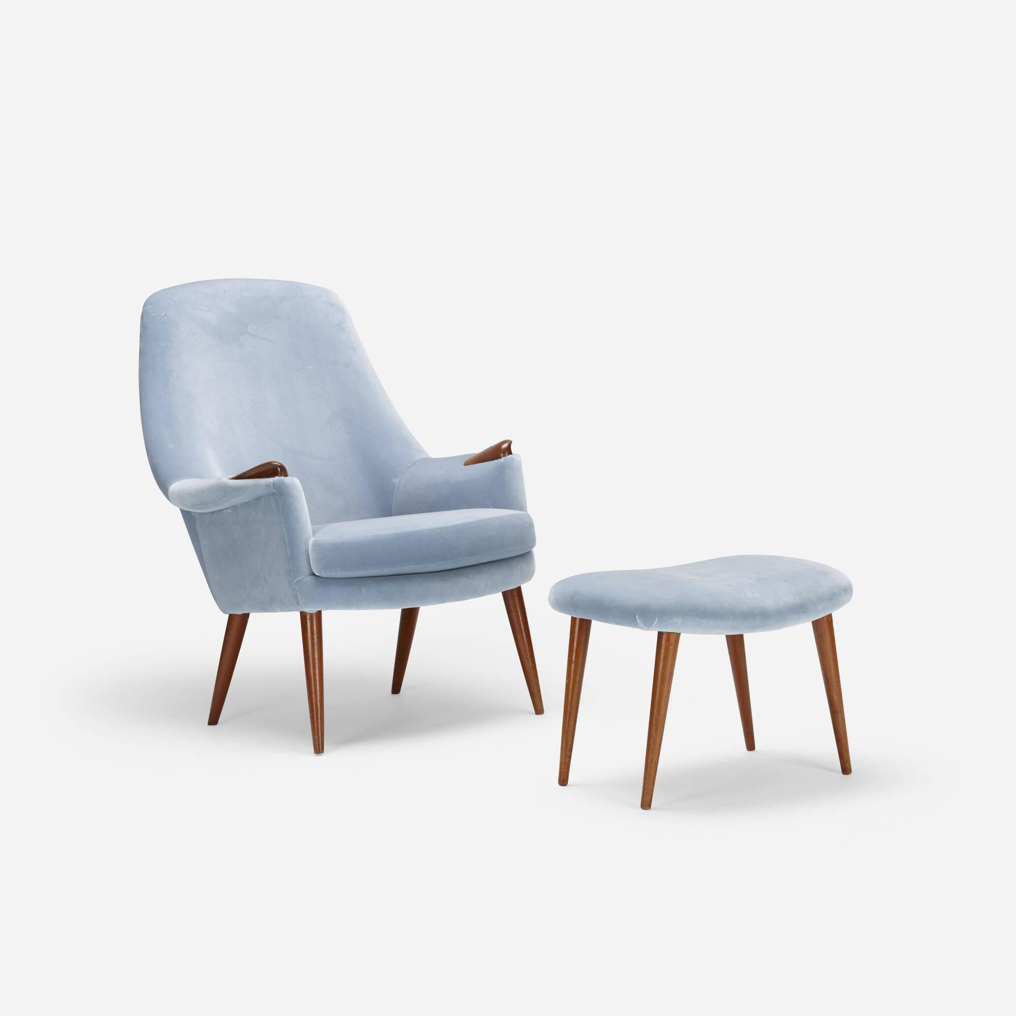 712: Scandinavian / lounge chair and ottoman (1 of 2)