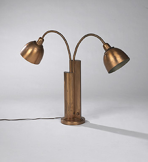 A rare beige and brown table lamp nr S\u00f8holm 1219-1  by artist Haico Nitzsche.