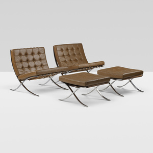 155 Ludwig Mies Van Der Rohe Pair Of Barcelona Chair And Ottomans From Philip Johnson Apos S Wiley House New Canaan Important Design