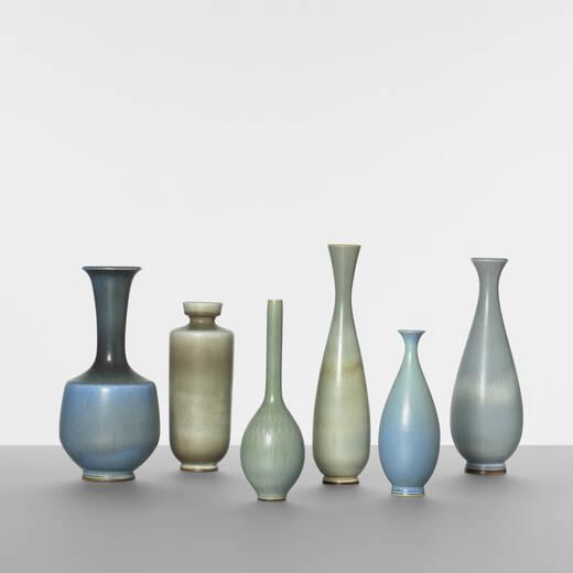 146 Berndt Friberg Collection Of Six Vases Scandinavian Design