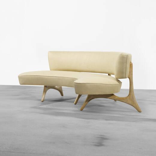 Curved Floating Sofa: 173: VLADIMIR KAGAN, Serpentine Sofa